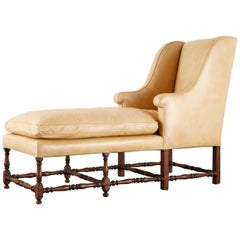 19th Century English Gentlemen's Leather Chaise Longue Armchair