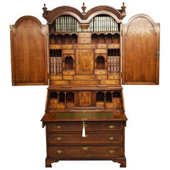 19th Century English George III Burr Walnut Bureau Bookcase