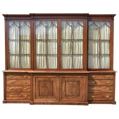 19th Century English George III Mahogany Breakfront Bookcase