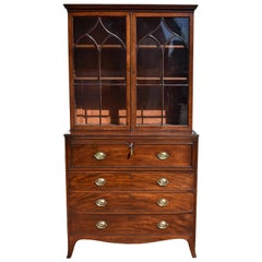 19th Century English George III Mahogany Secretary Bookcase