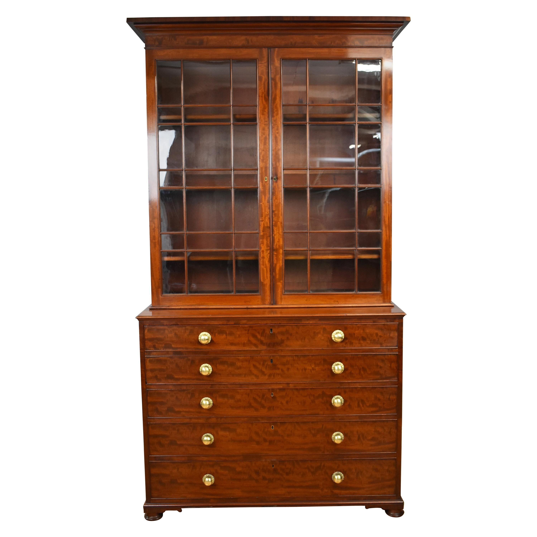 19th Century English George III Mahogany Secretary Bookcase