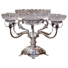 19th Century English George III Silver-Plated over Copper and Cut-Glass Epergne