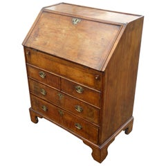 19th Century English George III Walnut Bureau