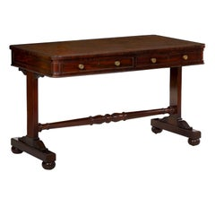 19th Century English George IV Writing Table Desk with Leather Top