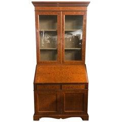 19th Century English Georgian IV Walnut Fruitwood Bookcase, 1820s