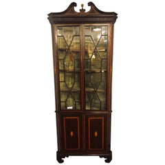 19th Century English Georgian Mahogany and Satinwood Corner Cabinet Lighted