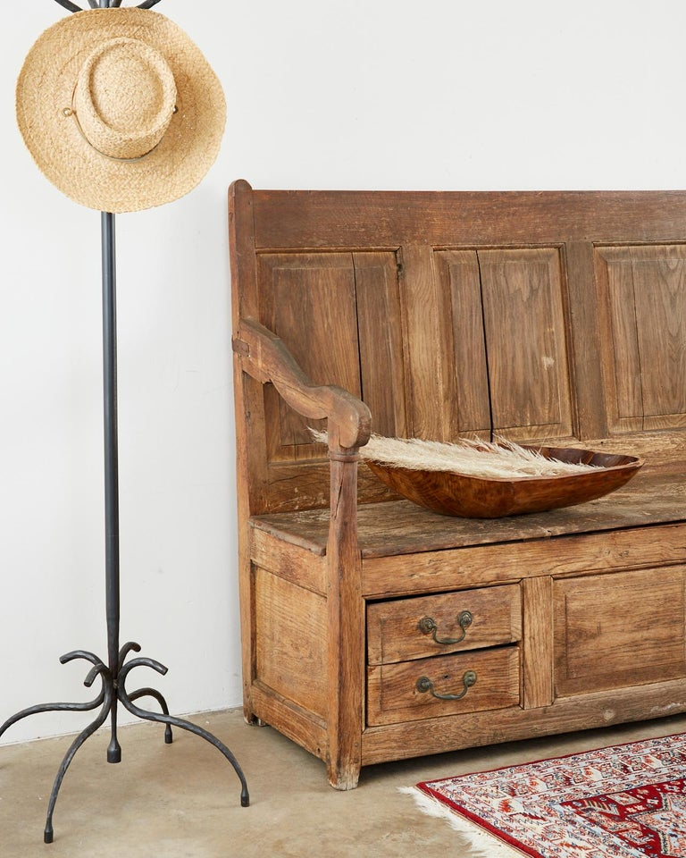 19th Century English Georgian Oak Box Settle Bench For Sale 7