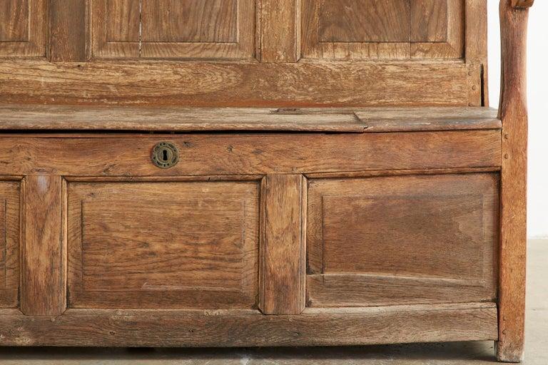 19th Century English Georgian Oak Box Settle Bench For Sale 8