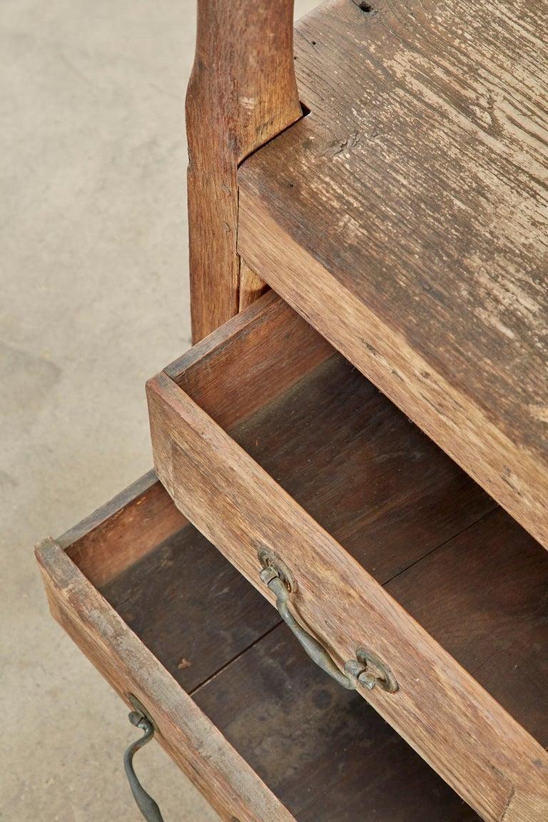 19th Century English Georgian Oak Box Settle Bench For Sale 12
