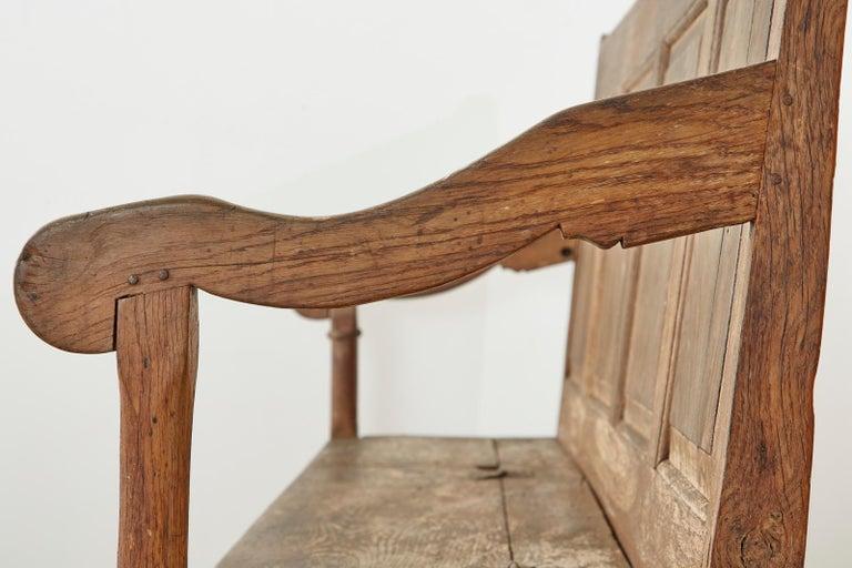 19th Century English Georgian Oak Box Settle Bench For Sale 13