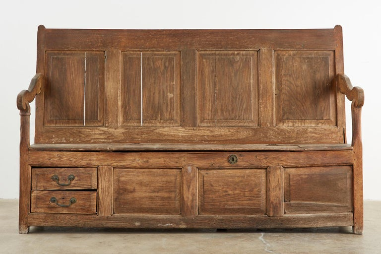 Hand-Crafted 19th Century English Georgian Oak Box Settle Bench For Sale