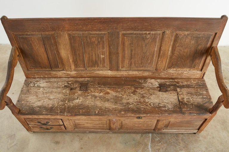 Iron 19th Century English Georgian Oak Box Settle Bench For Sale