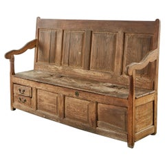 19th Century English Georgian Oak Box Settle Bench