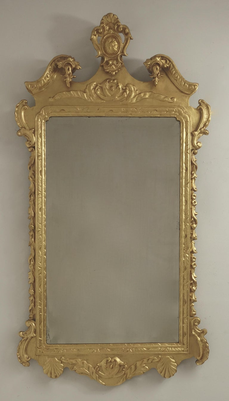 19th Century English Georgian Style Gilt Wood over Mantle Mirror  For Sale 7