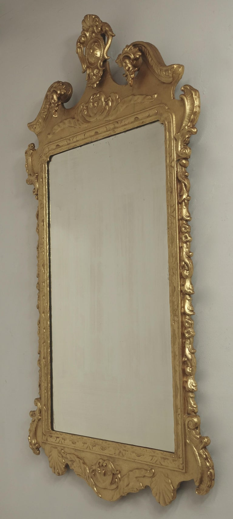 19th Century English Georgian Style Gilt Wood over Mantle Mirror  For Sale 9