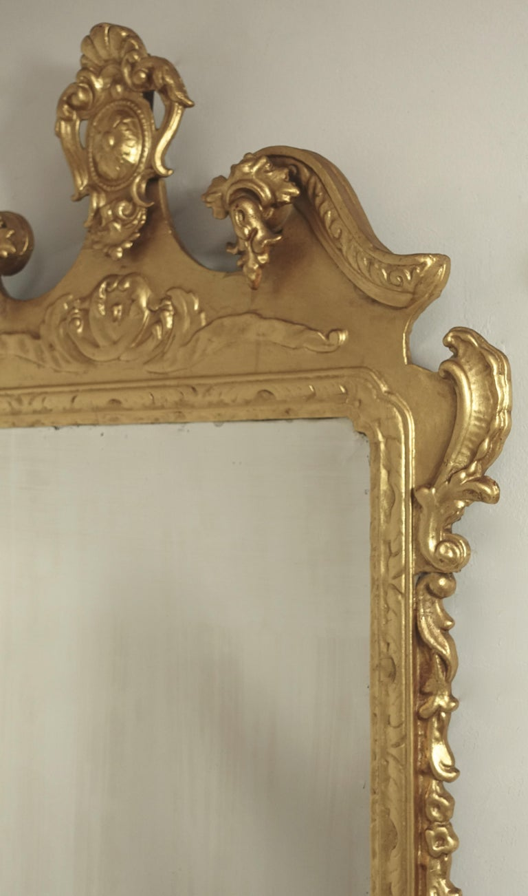 19th Century English Georgian Style Gilt Wood over Mantle Mirror  For Sale 10