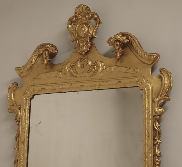 19th Century English Georgian Style Gilt Wood over Mantle Mirror  In Good Condition For Sale In San Francisco, CA