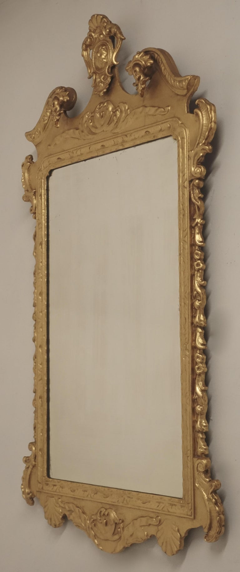 19th Century English Georgian Style Gilt Wood over Mantle Mirror  For Sale 2