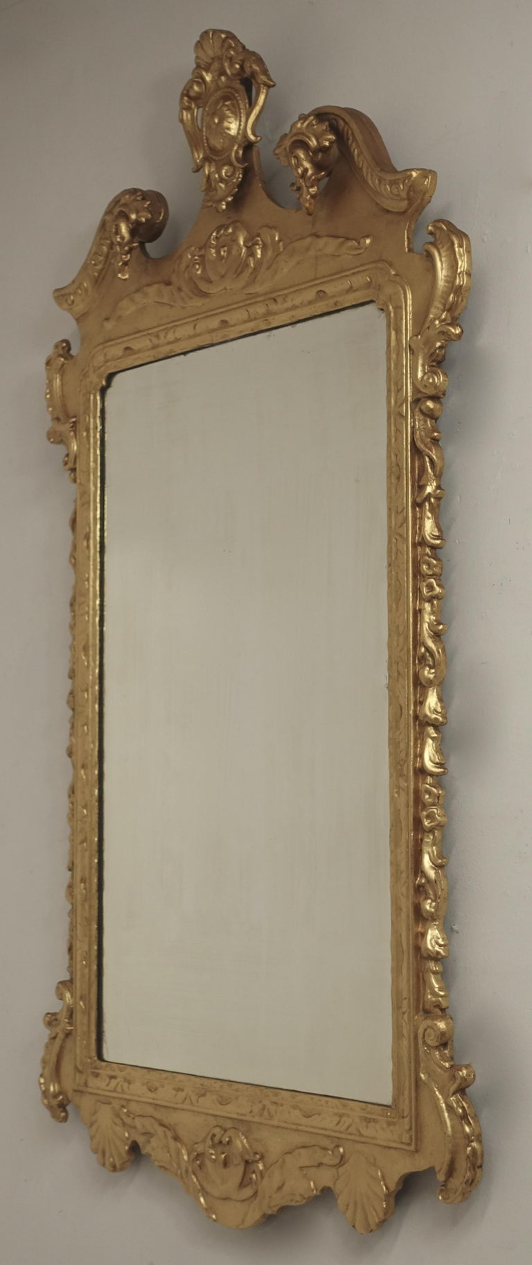 19th Century English Georgian Style Gilt Wood over Mantle Mirror  For Sale 3