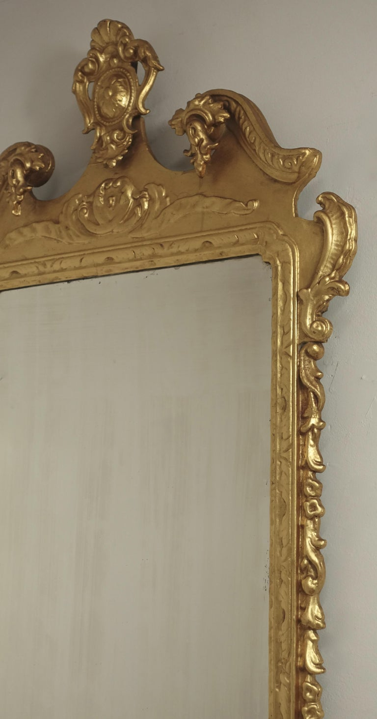 19th Century English Georgian Style Gilt Wood over Mantle Mirror  For Sale 5