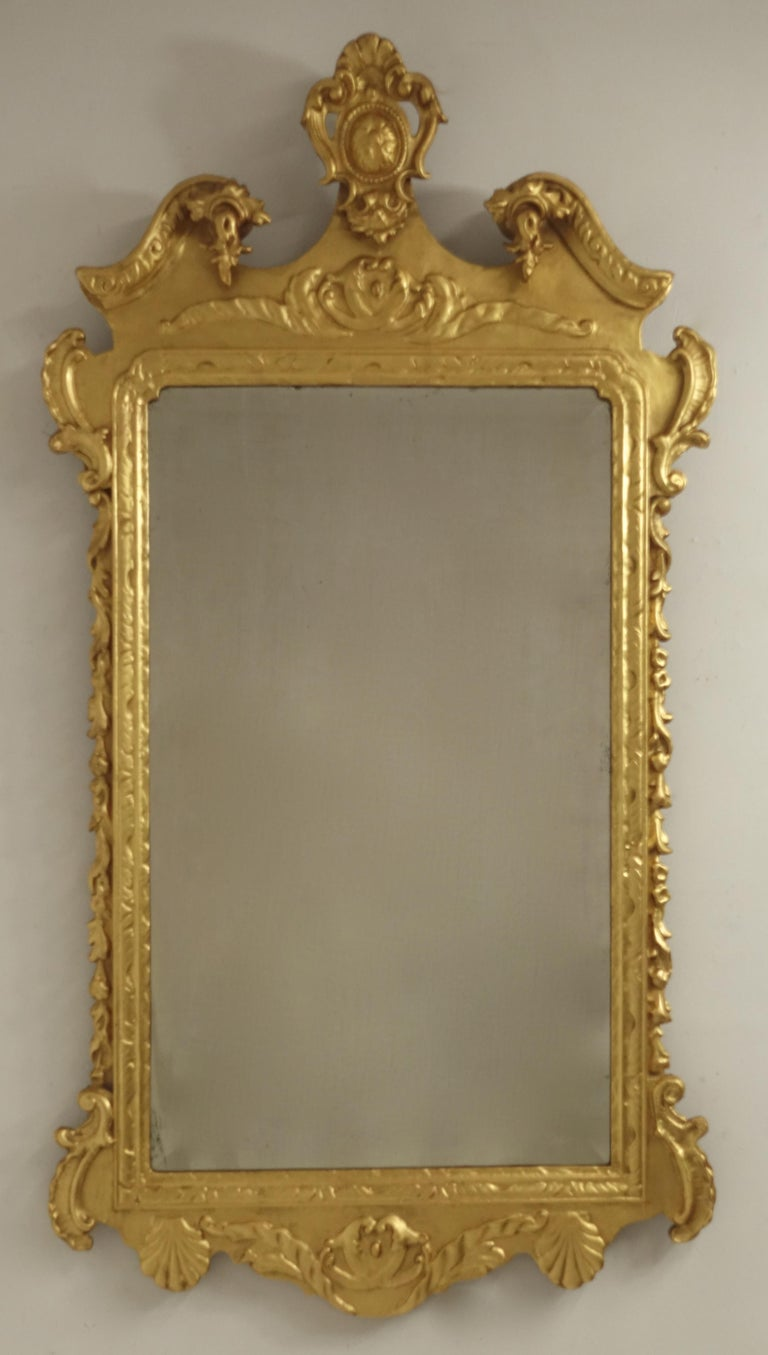 19th Century English Georgian Style Gilt Wood over Mantle Mirror  For Sale 6
