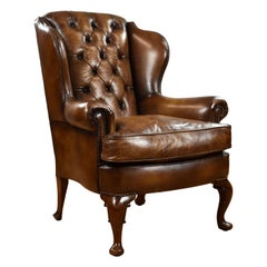 19th Century English Georgian Style Leather Wing Back Armchair