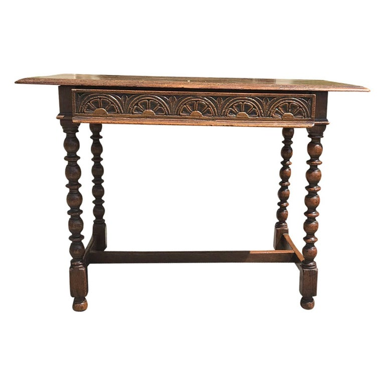 19th Century English Georgian Style Oak Writing Side Table With Drawers