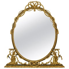 19th Century English Georgian Style Oval Giltwood Rope and Dolphin Mirror