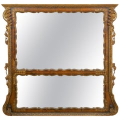 19th Century English Georgian Walnut Antique Pier Wall Mirror, circa 1850s