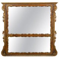 19th Century English Georgian Walnut Antique Pier Wall Mirror, circa 1850s