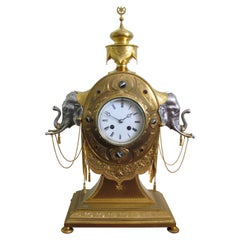 19th Century English Gilt Bronze and Silver Elephant Clock, circa 1880