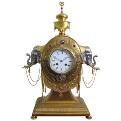 19th Century English Gilt Bronze and Silver Elephant Clock