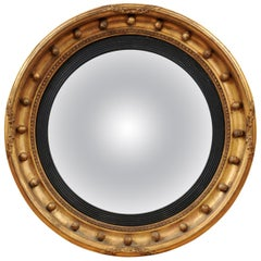 19th Century English Giltwood Bulls-Eye Convex Mirror