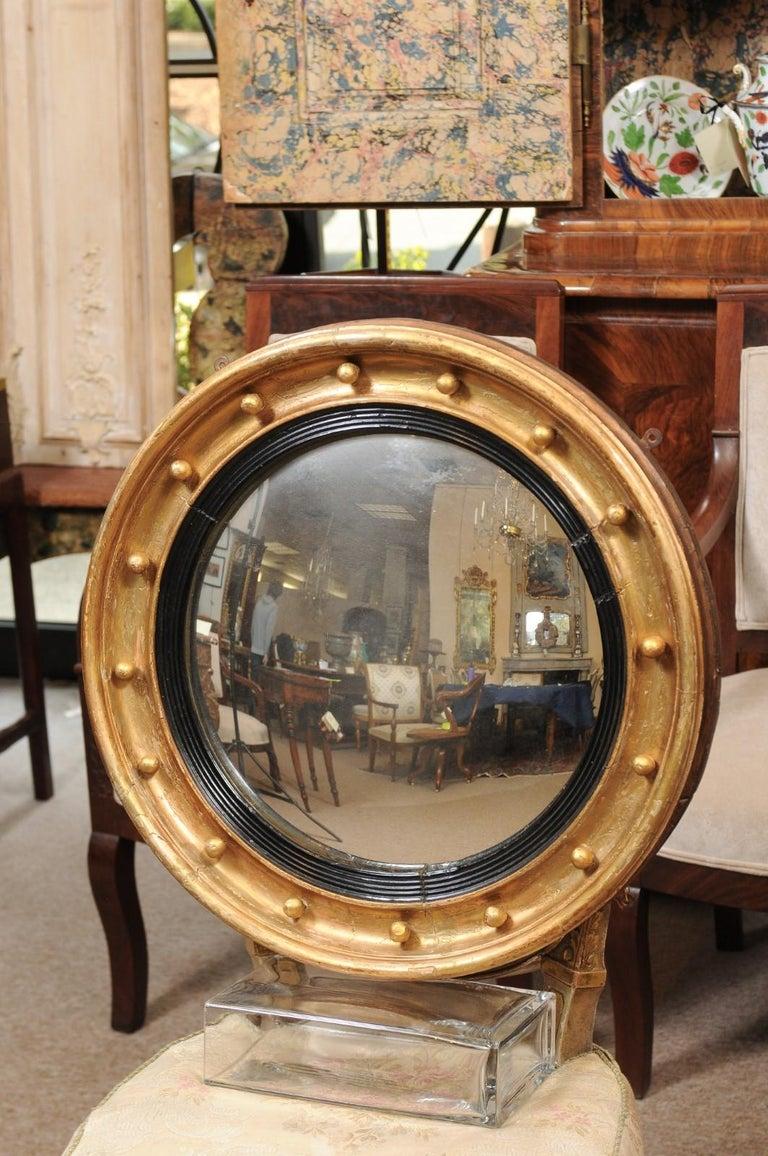 19th Century English Giltwood Bullseye Convex Mirror