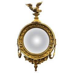 19th Century English Giltwood Bullseye Mirror with Girandola arms