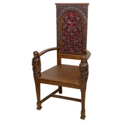 19th Century English Gothic Revival Carved Oak Armchair