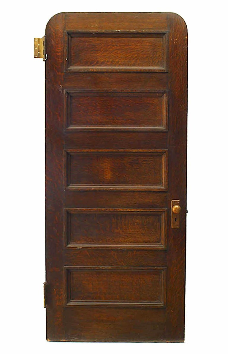 19th Century English Gothic Revival Paneled Oak Door In Good Condition For Sale In New York, NY