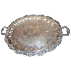 19th century English Grape Motif Old Sheffield Silver Monumental Butler's Tray