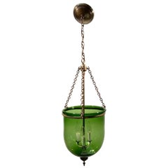 19th Century English Green Hand Blown Glass Bell Jar Pendant Light in Green