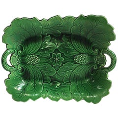 19th Century English Green Majolica Handled Platter