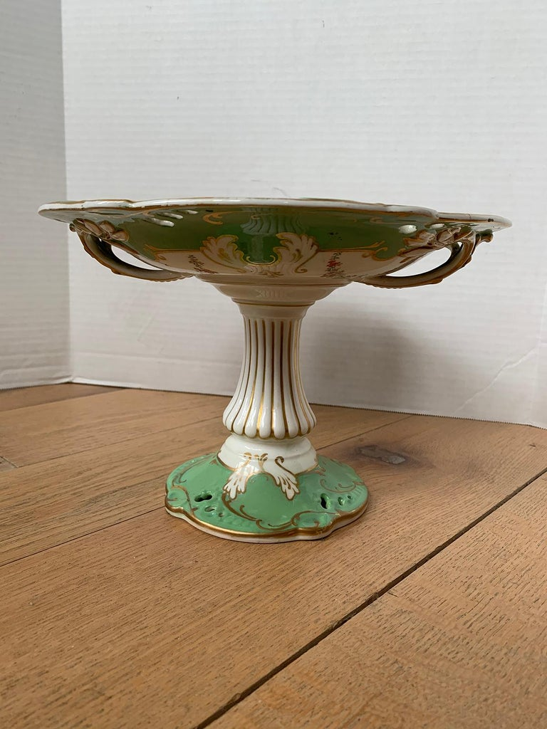 19th century English green and white porcelain compote with gilt details, unmarked.