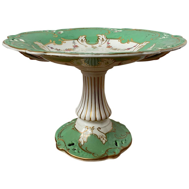 19th Century English Green & White Porcelain Compote with Gilt Details, Unmarked For Sale
