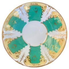 19th Century English Green and White Porcelain Plate, Marked with Pattern