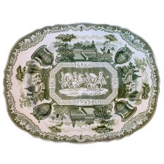 19th Century English Green and White Transferware Stone China Oval Charger