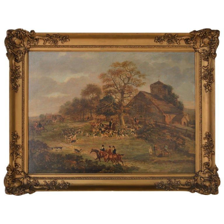 19th Century English Hunt Painting by Wolstenholme For Sale