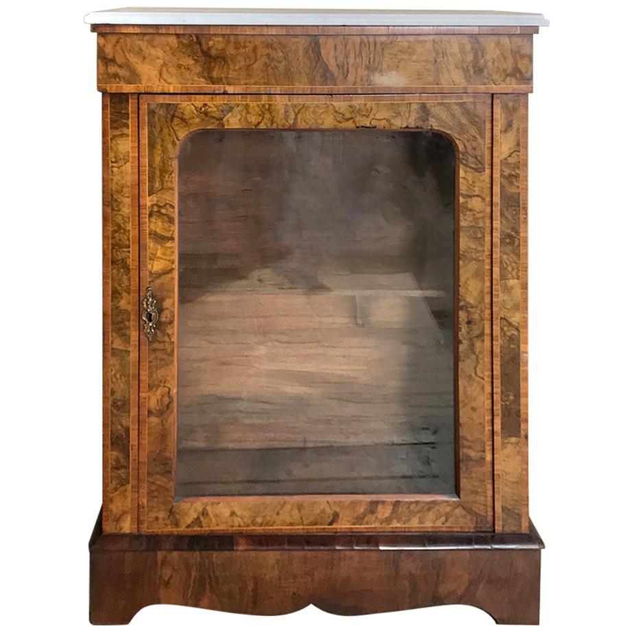 19th Century English Inlaid Burlwood Marble Top Curio Cabinet