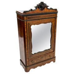 19th Century English Inlaid Miniature Armoire Cabinet
