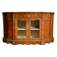 19th Century, English Inlaid Wood Sideboard with Gilt Bronzes
