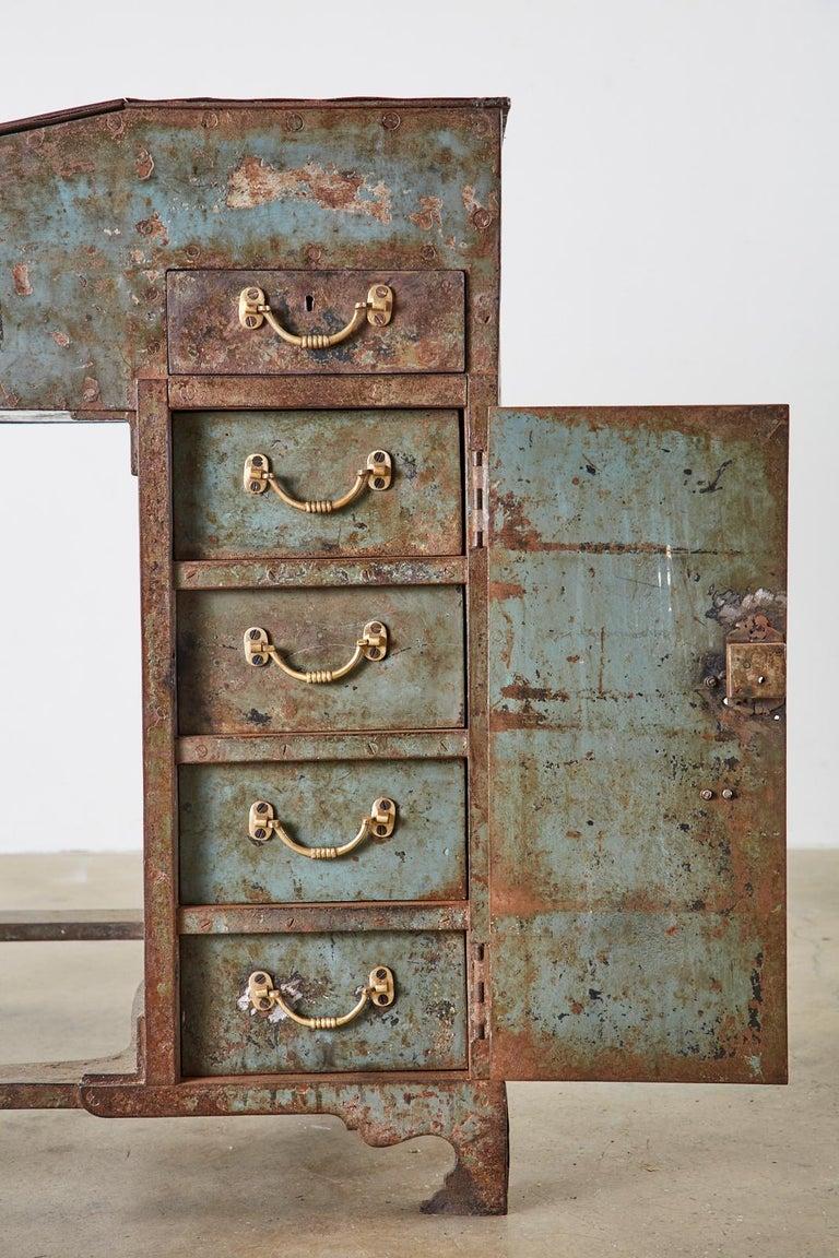 19th Century English Iron Bronze Industrial Davenport Desk For Sale 7