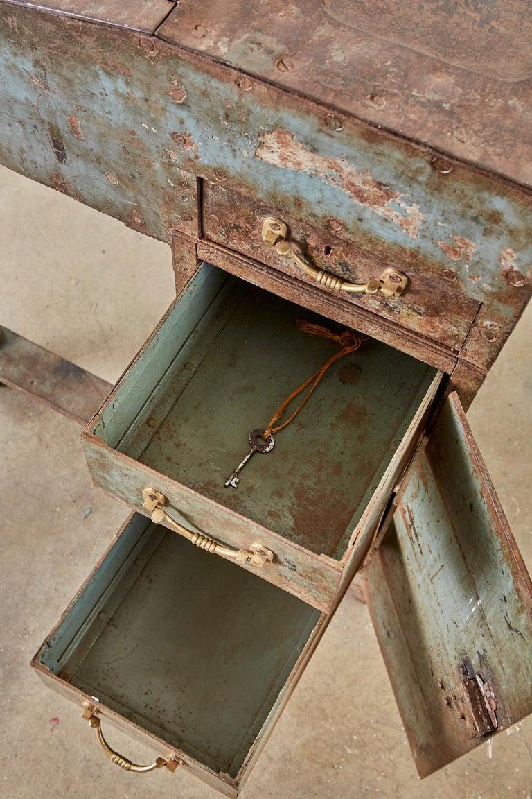 19th Century English Iron Bronze Industrial Davenport Desk For Sale 9